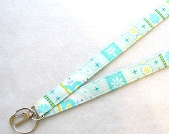 Aqua Turquoise Daisy Floral Multi Stripe Fabric Lanyard Breakaway Lanyard ID Badge Holder ID Clip Key Ring Fob  MTO