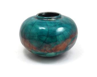 Raku POTTERY COIL BUILT  Handmade Pottery Ceramic