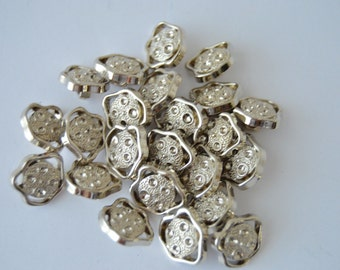 REDUCED - PLUS see shop announcement for 60% off code - Silver Abstract Shank Buttons x 27 - approximately 1/2 inch