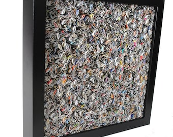 colorful BLACK square shadowbox wall art - made from recycled magazines, blue, green, red, purple, pink, yellow, orange, unique texture, fun