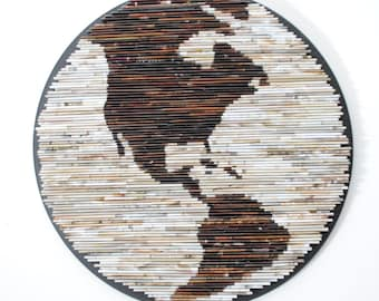 30 % off- Neutral GLOBE wall art -made from Recycled Magazines- brown, tan, circle, recycled, ocean, continent, north america, south america