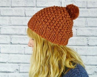 READY TO SHIP Hand knitted Bobble Hat - Luxury merino wool and silk - Copper