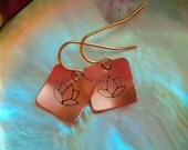 Lotus Earrings Copper square pendant gold surgical steel ear wires yoga jewelry flower earrings spiritual botanical