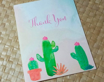 Thank You Card, Desert Thank You Card, Wedding Thank You Card, Watercolor Cactus Thank You Card, Party Thank You Card, Note Card