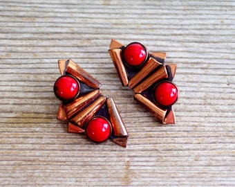 Matisse Earrings, Rare Vintage MATISSE Enamel Copper Modernist Clip Earrings, Copper Enamel Jewelry, Matisse Jewellery, Modernist Copper