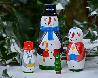 Winter Friends - Handmade Matryoshka Russian nesting dolls - Snowman - Frosty - 4 pieces - Folk art - Christmas