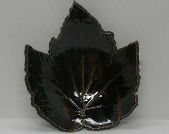 Handbuilt Porcelain Windflower Imprinted Leaf Bowl