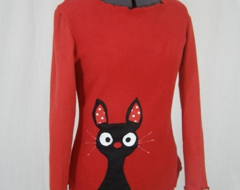 Harada red fleece black cat