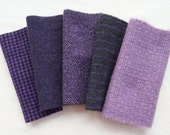 "Purple Hand Dyed Felted Wool Fabric 5"" x 5"" Wool Charm Pack of 5 Quilting, Sewing, Wool Applique"