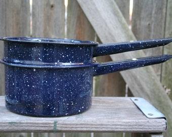 Vintage Enamelware Dark Blue Speckled Double Boiler Cookware
