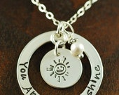 ON SALE You are my sunshine Necklace, Hand Stamped Mommy Necklace, Personalized Jewelry, Mommy Jewelry