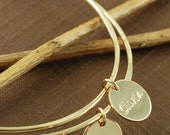 SALE 14kt Gold Filled Bangle Bracelets with Hand Stamped Discs