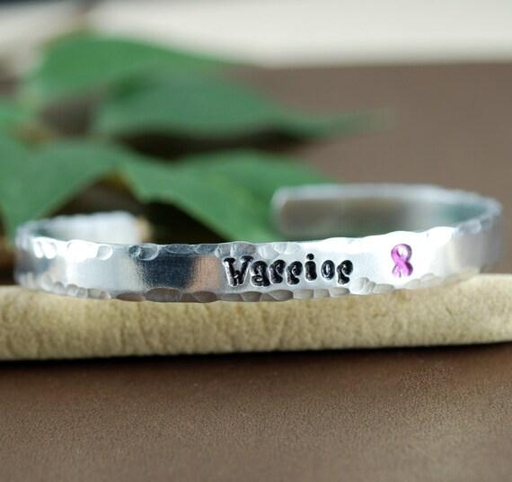 Cuff Bracelet, WARRIOR, Personalized Bracelets, Cancer Awareness, Inspirational Jewelry, Custom Bangle Bracelets, Breast Cancer Awareness