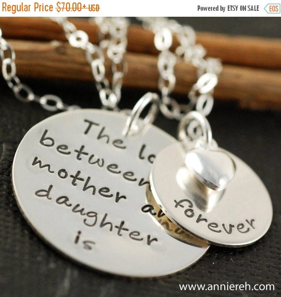 ON SALE Hand Stamped Jewelry - Personalized Jewelry - Sterling Silver Jewelry - The Original Hand Stamped Mother & Daughter Necklace  -