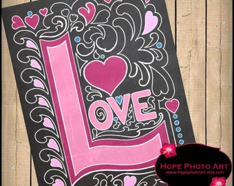 Love Chalkboard Digital Collage Sheet 8x10 Valentine Image Transfer Wall Art Printable UPrint 300jpg