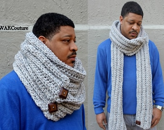 Infinity Scarf Oversized Wool Scarf Man Eternity Long Chunky Scarf Wood buttons Convertible Tundra Scarf Gray Tweed or CHOOSE Color
