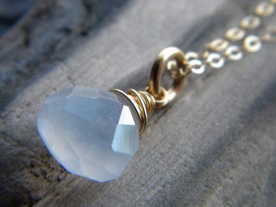 Natural smoky gray chalcedony wire wrapped gemstone solitaire necklace - 14k gold filled - handmade jewelry