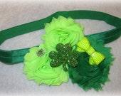 Baby headband, Shamrock Headband, St patricks day Bow, Shabby Chic Headband, St patricks Headband,  Girls Headband, Irish Headbands, Green