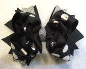 Silver Hair Bow, Silver Hairbow, Black Boutique Bow, Black Glitter Bow, Silver Foiled Bow, Black and Silver Bow, Girls Bow, Boutique Hairbow
