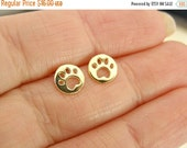 SPRING Sale Dog Paw  Stud earrings , Gold stud earrings , Gold Earrings , Dog Paw  Earrings , Gold Post Earrings , Tiny Stud Earrings , Dog