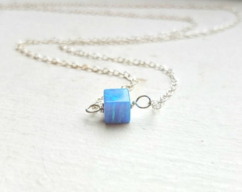 Opal Necklace , Blue Opal Necklace, Opal Silver Necklace ,  Opal Cube  Necklace, Opal Jewelry ,  Cube Necklace, Small Cube Necklace