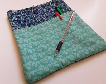 """Fabric Tablet Sleeve, iPad Case, Size 10"""" x 8.5"""", Quilted Tablet Cover, Tablet Case, OOAK, Ready to Ship, Quiltsy Handmade"""