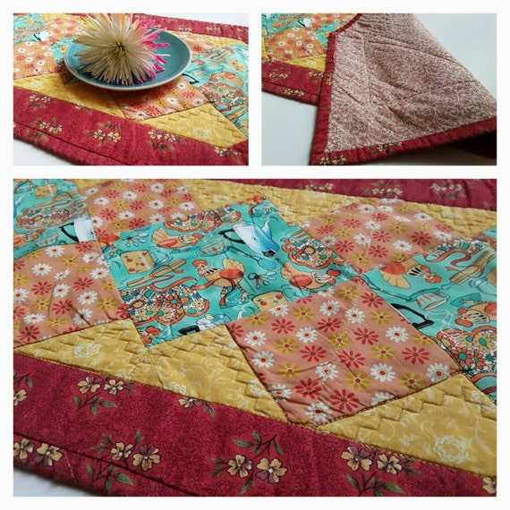 Teal And Red Yellow Orange Kitchen: Table Runner Red Yellow Teal Kitchen Kitchen Tablecloth
