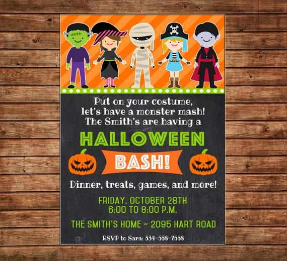 Girl or Boy Halloween Bash Costume Party Pumpkin Trick or Treat Invitation - DIGITAL FILE