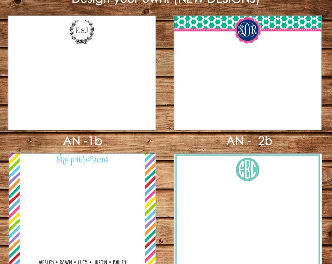 New Designs - Personalized All Occasion Flat Notes Notecards Stationery with Envelopes - Design your own - Choose ONE DESIGN