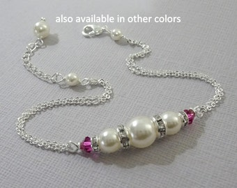 Hot Pink Bracelet, Bridesmaid Bracelet, Swarovski Ivory Pearl and Fuschia Crystal Bridesmaid Bracelet, Wedding Bracelet, Pearl Bracelet