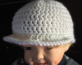 White baby hat with brim