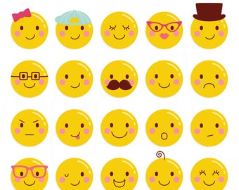 Cheeky Faces Digital Clipart Clip Art Illustrations - instant download - limited commercial use ok