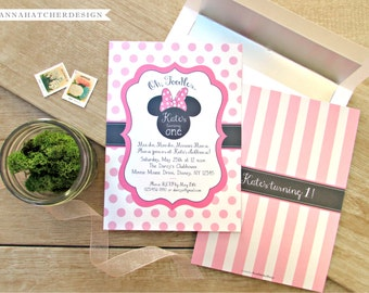 Minnie Mouse Invitations / Minnie Mouse Birthday Invite in Pink, Red or Any Color / DIY Printable File or Prints