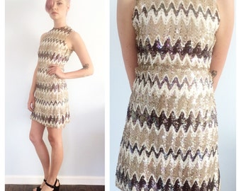 Vintage 60s Taupe Sequin Chevron Mini Sheath Dress