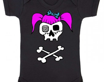 Rockabilly Girl Skull Black Baby Vest, Goth, Punk, Bodysuit