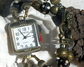 ON SALE 50% OFF Antique Brass Watch, Bone Beads Jewelry     Sold as is 6.75 to 7 inches.