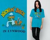 Duck Shirt 80s TShirt KICKIN BACK in LYNWOOD California Graphic Cartoon T Shirt Animal Tropical Vintage 1980s Turquoise Blue Large