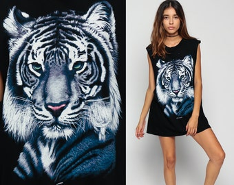 Tiger Tank Top 90s Shirt Animal White Tiger Wildlife Print Graphic 1990s CUT Off Low Armhole 80s Sleeveless Hipster Vintage Small Medium