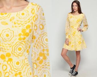 70s Mini Dress Floral Print Graphic SHEER SLEEVE 60s Mod High Waisted Yellow Vintage Boho Lolita Party Yellow Medium