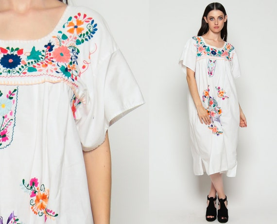 White Mexican Dress Midi 80s Embroidered Cotton Tunic Boho HIPPIE Ethnic Vintage Traditional Floral Smock Folk Large