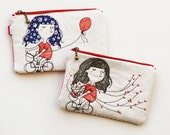 Bicycle Heart tree and Red balloon Free Motion Embroidery Zipper Pouch, Organize