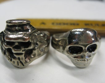 Skull Rings Lot of Two Size 6 1/2 to 7 Creepy Sturdy Split Backs Great Vintage Metal Content Unknown But Who Cares