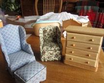 Dollhouse Decor. Living Room Set.Blue Print Chair & Ottoman, Floral Chair, Light oak chest #118