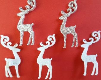 ELEGANT REINDEER Glitter Rudolph Santa Sleigh Christmas Dress It Up Craft Button