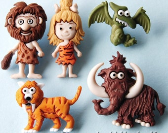STONE AGE Dinosaur Woolly Mammoth Man Woman Prehistoric Dress It Up Craft Buttons