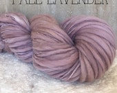 Slub Yarn, Thick and Thin Yarn, Hand Dyed Merino Yarn, Hand dyed Slub Yarn, Hand painted slub yarn, baby prop yarn, Fall Lavender