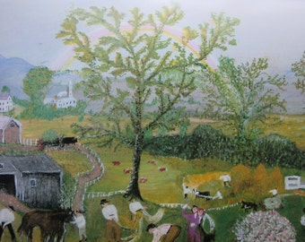 Grandma Moses- The Rainbow, Bookplate, Poster Print,Book Page, 1980 Reproduction Print, 13 x 8.75 in