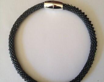 Dark blue bead choker