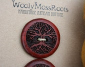 2 Large Red Tree Buttons- Wooden Buttons- Paduk Wood- Eco Craft Supplies, Eco Knitting Supplies, Eco Sewing Supplies