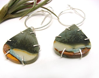 WANDER - Polychrome Jasper Drop Silver Dangle Earrings